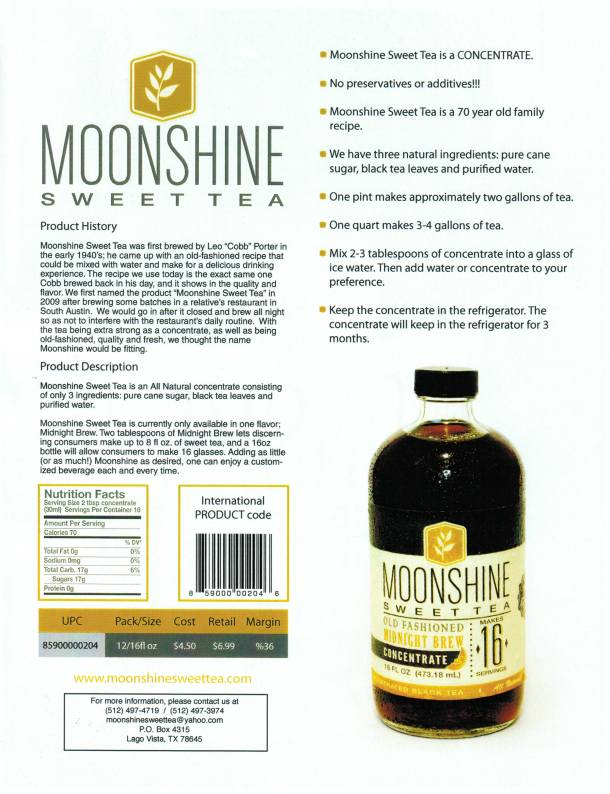 Moonshine Sweet Tea Sell Sheet