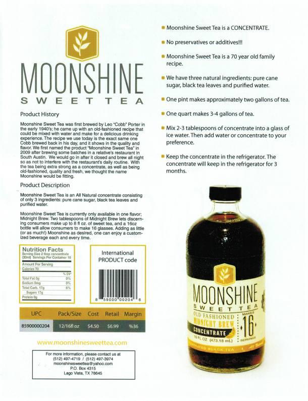 Moonshine Sweet Tea Sell Sheet
