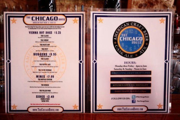 The Chicago House Menu