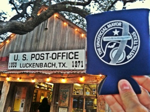 Unofficial Mayor of Austin Koozie at Luckenbach